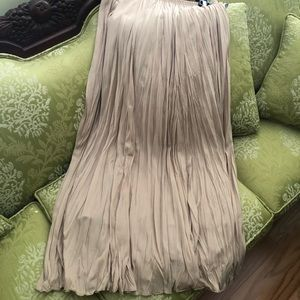 NWT New Directions Natural Tan Pleated Maxi Skirt